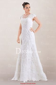 Illusion Neckline Wedding Dress with Delicate Lace Overlay and Buttons Back