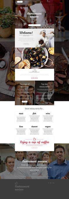 Template 55568 - Review Restaurant  Responsive Website Template