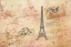 "Vintage art collage with ephemera from the early 1900's, including an illustration of a bicycle and the Eiffel Tower, a swallow carrying an old letter, a piano music song sheet for an old song, ""April in Paris"", a vintage postmark, and a photograph of cherry blossoms and floral swirls in the background. Many textures were added to the collage to enhance the antique look. #vintage #cherry blossoms #bicycle #eiffeltower #france #paris #spring #collage #vintagecollage"