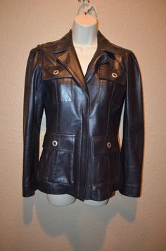 Sz 2 Oscar de la Renta Navy Blue Lambskin Leather Zipper Front Jacket -Worn Once #OscardelaRenta #BasicJacket