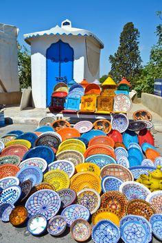 A colorful market in Sidi Bou Said, Tunisia