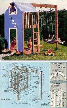 Kids Play Structure Plans - Children's Outdoor Plans and Projects   WoodArchivist.com