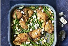 Delicious roast chicken with a range of spring veggies to enjoy with the family.