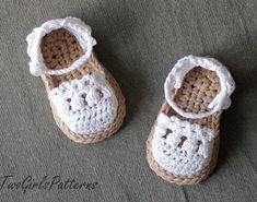 Crochet Pattern for Baby Espadrille Sandals - Crochet pattern 119 - Instant Download