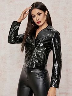 Faux Leather Jackets, Leather Pants, Pants For Women, Jackets For Women, Leder Outfits, Leather And Lace, Pu Leather, Leather Fabric, Elegantes Outfit