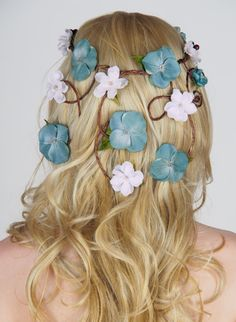 Whimsical Wedding Crown with Cascading Veil of Flowers - Aqua & Ivory - Floral Headpiece, Circlet of Vines via Etsy