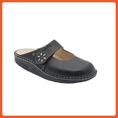Finn Comfort Women's Side - 1567,Black/Silver,38 EU (US Women's 7 M) - Mules and clogs for women (*Amazon Partner-Link)