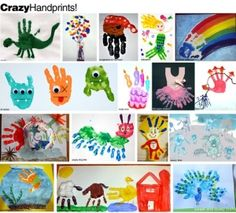 hand print art.  I love the birthday cake hand!! Love them all!! I must try a few of these with my daycare kids!