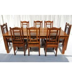 Good 9pc Dining Room Kitchen Table 8 Chairs Set Solid Wood Furniture W Wrought  Iron By Sierra