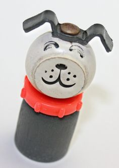 Vintage Fisher Price little People Black & White Dog Puppy Wooden toy. My favorite one