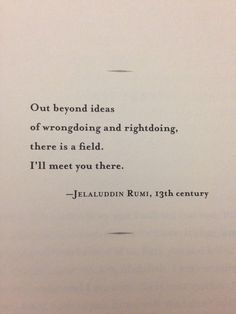 Out beyond ideas of wrongdoing and rightdoing, there is a field. I'll meet you there - Rumi