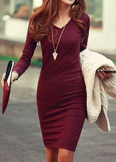 Simple V-Neck Long Sleeve Solid Color Bodycon Knitted Women's Dress