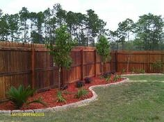 fence landscaping- we need this along our not-so-pretty privacy fence (ESPECIALLY the ugly side against the neighbors omg)