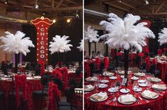 Fun red, white and black decorations and props (notice the Top Hats on the chairs!) for a Gatsby-inspired Prom theme. Burleske Party, 1920 Theme Party, Harlem Nights Theme Party, Great Gatsby Party, Gatsby Theme, Party Themes, Party Ideas, 1920s Theme, Gatsby Wedding