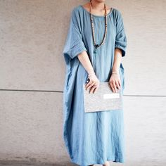 Find More Dresses Information about 2016 New Summer Style Women Casual Maxi Dress Cotton Linen Batwing Sleeve Loose Plus Size Robe Half Sleeve Round Neck Dress,High Quality dresses cotton,China dress travel Suppliers, Cheap dress for your figure from Johnature Store on Aliexpress.com