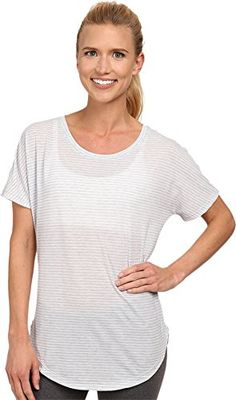 Lucy Womens Final Rep SS Lucy WhiteSleet Grey Heather Stripe TShirt XS -- You can get additional details at the image link.