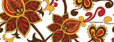 Red Yellow Flower Pattern Facebook Cover CoverLayout.com