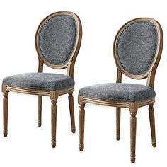 Shiraz Linen Oval Back Dining Chairs in Charcoal (Set of 2)