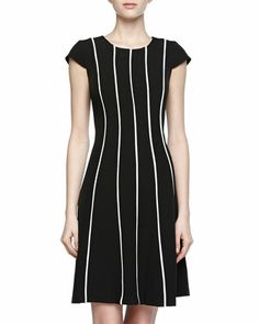 Striped Stretch Dress, Black/Ivory by Chetta B at Neiman Marcus Last Call.