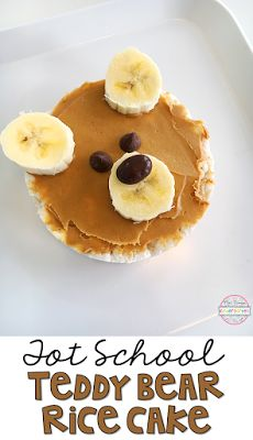 This teddy bear snack turned out super cute! I love when our snack is easy and my little one loves being able to help. To make this snack start by spreading peanut butter on a rice cake. Use banana slices for the ears and nose. Add chocolate chips and/or chocolate covered raisins for the eyes & nose. Delicious and adorable.