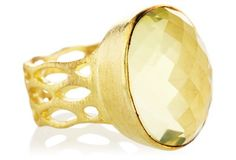 Faceted Lemon Quartz Ring, 8