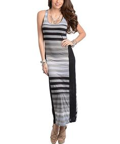 Look what I found on #zulily! Gray & Black Stripe Maxi Dress by Buy in America #zulilyfinds