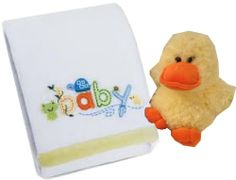 Carter's Sweet Baby Blanket, White with a Super Soft Plush Duck Carter's,.
