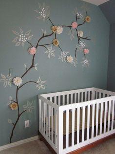 crochet inspiration ~ painted wall mural with crocheted flower appliques. Love the wall mural! Girl Nursery, Girls Bedroom, Nursery Decor, Nursery Room, Master Bedroom, Chic Nursery, Baby Bedroom, Bedrooms, Bedroom Wall
