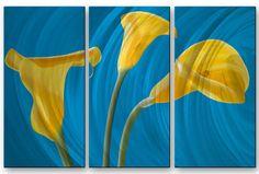 Yellow Callas by Ora Sorenson 3 Piece Painting on Metal Plaque Set