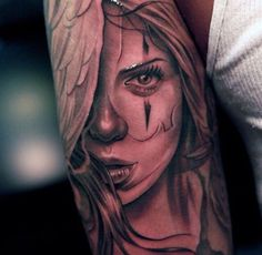 3d portrait tattoo in black ink