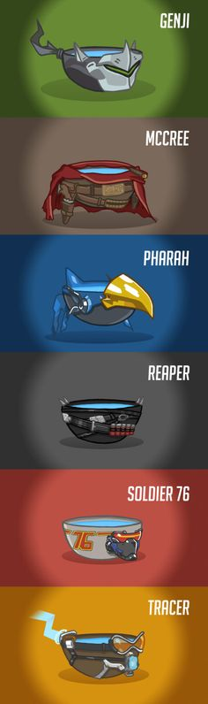 Overwatch heroes as lukewarm bowls of water (by Lukidjano)