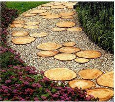 Garden path from wood saw cuts. 37 Original DIY ideas for garden