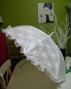 Kırık Beyaz Dantel Gelin Şemsiyesi