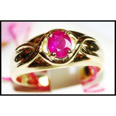 Unique Gemstone 18K Yellow Gold Solitaire Ruby Ring by BKGjewels