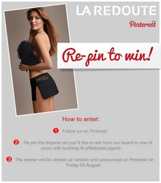 Participate in the #LaRedouteLingerie Competition to WIN a lingerie set! Competition Terms and Conditions: http://ow.ly/cSkKX