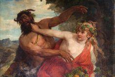 Auktionsobjekt: Faun, eine Nymphe jagend – James Marshall, Öl/Leinwand