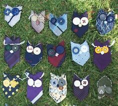 Owls from cut ties – owls from cut ties - Upcycled Crafts Mens Ties Crafts, Tie Crafts, Sewing Crafts, Sewing Projects, Craft Projects, Craft Ideas, Owl Sewing, Sewing Ideas, Sewing Patterns