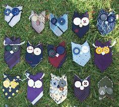 Owls from cut ties - Eulen aus abgeschnittenen Krawatten