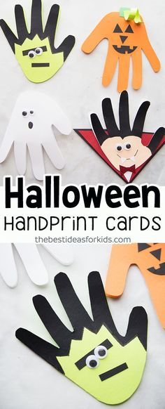 Halloween Handprint Crafts for Kids - these Halloween Handprints are too cute! Handprint Frankenstein, Handprint pumpkin, Handprint Ghost and Handprint Vampire craft for kids. halloween crafts for kids Halloween Arts And Crafts, Halloween Crafts For Toddlers, Fall Crafts For Kids, Halloween Crafts For Kids, Halloween Activities, Toddler Crafts, Craft Activities, Halloween Diy, Holiday Crafts