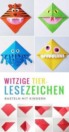 Lesezeichen basteln: Monster und Tier Lesezeichen falten mit Kindern - List of the most creative DIY and Crafts Kids Crafts, Diy Crafts To Do, Decor Crafts, Origami Diy, Origami Tutorial, Origami Ball, Origami Ideas, Papier Kind, Diy Papier
