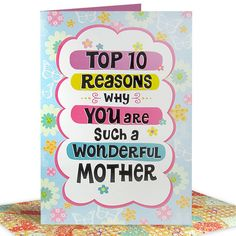 Best Reasons For Best Mom Card Top 10 reasons why you are such a wonderful mother. | Card Size : 14 X 10 inch | Rs. 270 | Shop Now | https://hallmarkcards.co.in/collections/mothers-day-2016/products/happy-mothers-day-cards-online