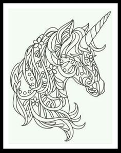 Unicorn Coloring Page Embroidery Patterns