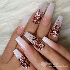 French Fade with Glitter Ombre and Snowflakes on long Coff.- ✨ French Fade with Glitter Ombre and Snowflakes on long Coffin Nails ✨ Cute Christmas Nails, Xmas Nails, Holiday Nails, Cute Acrylic Nail Designs, Best Acrylic Nails, Nail Art Designs, Nails Design, Winter Acrylic Nails, Christmas Acrylic Nails