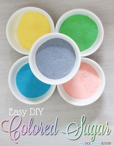 How to make colored sugar. Making colored sugar is easy and way less expensive than buying it. Once you get started, you'll want to make all the colors...