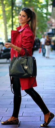 Adorable red coat and outfit for winter. Not a fan of the shoes, but beautifully put together