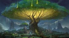 best Ideas for big tree sketch Fantasy City, Fantasy Forest, Fantasy Places, Fantasy Kunst, Fantasy World, Fantasy Trees, Fantasy Castle, Dark Fantasy, Fantasy Art Landscapes