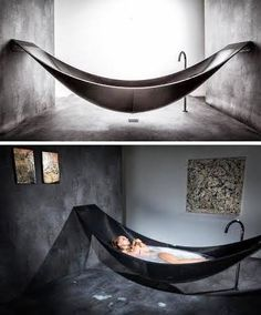 Hammock Bathtub Provides Ultimate Relaxation deluxe hammock-style bathtub by Splinter Works of Britain.deluxe hammock-style bathtub by Splinter Works of Britain. Dream Bathrooms, Beautiful Bathrooms, White Bathrooms, Luxury Bathrooms, Master Bathrooms, Bathroom Renos, Small Bathrooms, Beautiful Kitchen, Bathroom Faucets