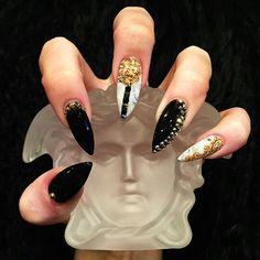 Gold Black and White Bling Swarovski Nail Art Design