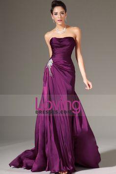 2014 Strapless plissada corpete Bainha Prom / Vestido com babados saia frisada