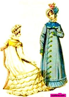 1818  November.  Dinner and Walking Dresses, English.  Dinner dress with a frilled hem and a blue military style Pelisse, or Walking Dress, or Redingote in France. Hats to match.  suzilove.com